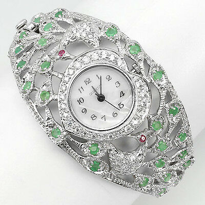 JUMBO RARE NATURAL EMERALD,RUBY,DIAL MOP,W CZ STERLING 925 SILVER PEACOCKS WATCH