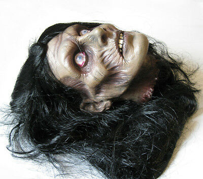 Female Zombie Cut Off Human Head Scary Halloween Haunted House Party Prop
