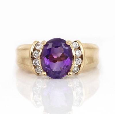 Solid 14K Yellow Gold Purple Amethyst Natural Diamond Ring Size 5.5
