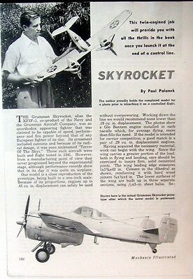 Vintage SKYROCKET Scale Twin UC Model Airplane PLANS + Construction Article