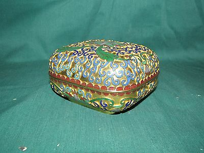 Old or Antique Chinese Cloisonne Box with Gilded Background