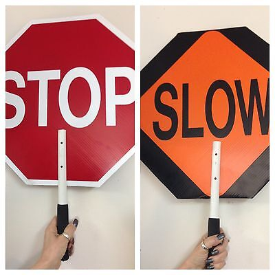 """ST-SL Paddle Sign 18 In Stop/Slow STOP / SLOW PLASTIC SIGN WITH HANDLE NEW 18"""""""