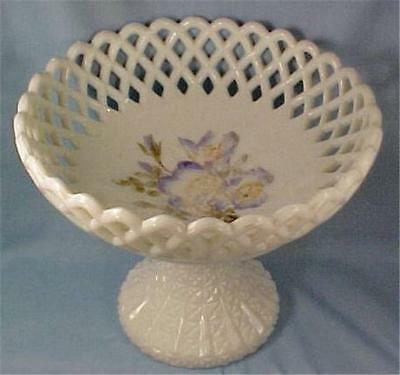 Challinor Milk Glass Compote Hand Painted Flowers Lattice Early American Pressed