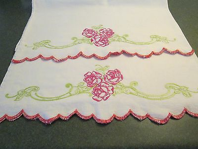 Vintage Hand Embroidered Floral Feed Sack Pillow Cases - Scalloped Edges
