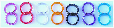 7 Pairs Of Finger Ring Inserts For Hairdressing Scissors Sparking In 7 Colours