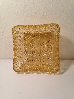 """Vintage amber L G Wright daisy and button 4"""" square bowls; set of 4"""