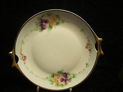 """Hutschenreuther Selb Gold Handled Plate """"Mutual Art Studios"""" 9"""" Pings and Sings"""
