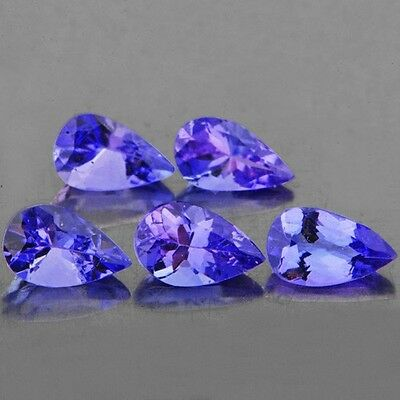 IF~0.90CT/5p PEAR 5x3mm SPARKLING INTENSE PURPLE BLUE TANZANITE 100% NATURAL NR