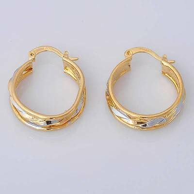 Gorgeous 14K Solid Yellow Gold Filled Jewelry Women's Hoop Earrings E046