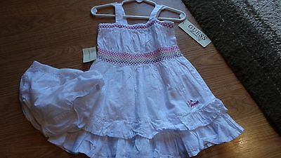 Guess Baby Girls 24 Months White/Multi Color Sun Dress with Diaper Cover NWT
