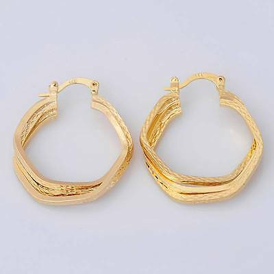 Gorgeous 14K Solid Yellow Gold Filled Hoop Earrings Women's Gift Jewelry E030
