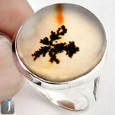 10.79cts NATURAL SCENIC RUSSIAN DENDRITIC AGATE 925 SILVER RING SIZE 8 F27759