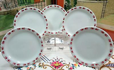 """5 SHENANGO CHINA RESTAURANT WARE RED LEAVES 6 1/4"""" BREAD AND BUTTER PLATES"""
