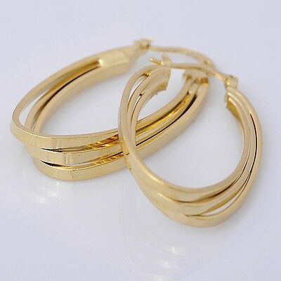 Gorgeous 14K Solid Yellow Gold Filled Hoop Style Womens Jewelry Earrings E024