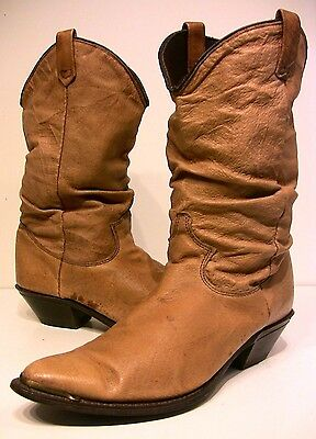 Vtg DINGO Camel Scrunched Leather Cowgirl Boots - Size 7