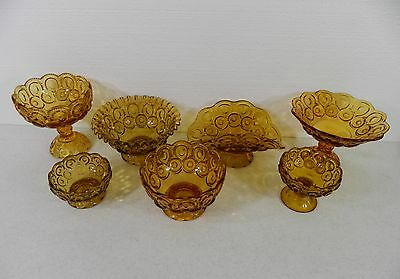 Collection of L.E. Smith Amber Moon and Star Glassware Compotes Bowls