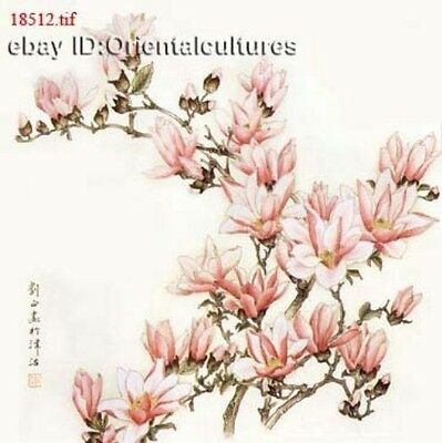 """Chinese 100% Real Natural Silk thread,Hand Embroidery Kits:yulan flower 14"""""""