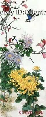 """Chinese 100% Real Natural Silk thread,Hand Embroidery Kits:birds mum flower 28"""""""