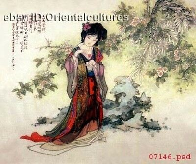 """Chinese 100% Real Natural Silk thread,Hand Embroidery Kits:ancient lady 16"""""""