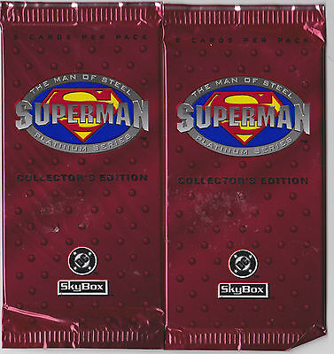 2 (Two) 1994 SUPERMAN  Platinum Series Collector's Edition Trading Card Packs