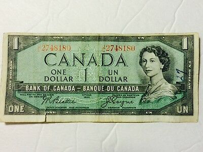 ULTRARARE OFF CENTER $1 ONE DOLLAR BANK OF CANADA BANKNOTE 1954 Beattie-Coyne 4