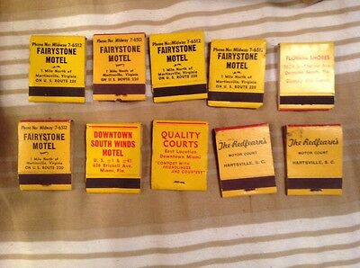 Lot Of 10 Quality Courts Matchbooks antique vintage full (now quality inns)