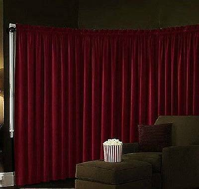 "Set Of 2 ABSOLUTE BLACKOUT Velvet Theater Energy Efficient  Panel Drapes 95"" Red"