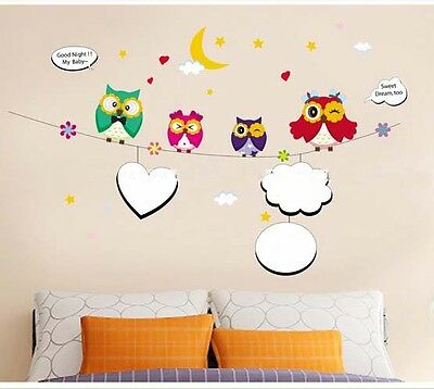 Owl Vinyl Removable Kids Baby Bedroom Nursery Decor DIY Wall Sticker Decal Mural