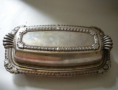 Antique Vintage English Silver  MFG. Butter Dish