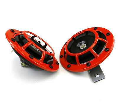 """2 Pcs 12V 4.8"""" Red Grille 118dB Super Loud Tone Compact Horn Speakers For Yamaha"""