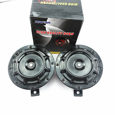 """2 x 12V 4.8"""" Black Grille 118dB Super Loud Tone Compact Horn Speakers For Yamaha"""