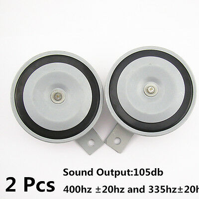 2 Pcs Gray Hood Grille Mount 105db Super Tone Loud 12V Compact Horn For Yamaha
