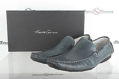 Mens KENNETH COLE NY stylish gray / blue leather loafers shoes sz. 9.5 M NEW!