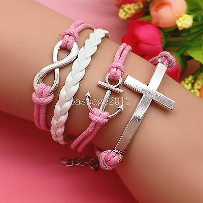 NEW DIY Fashion Cross Anchors Leather Cute Charm Bracelet plated Silver C158