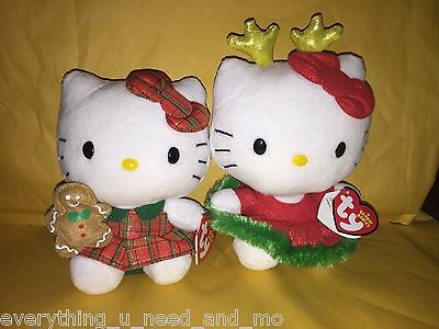 2014 HELLO KITTY TY BEANIE BABY CHRISTMAS SET~REINDEER EARS&RED PLAID DRESS~NEW!