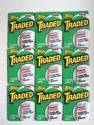 Lot of 9 Unopened Packs 1990 Topps Traded MINT