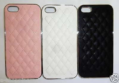 Lot of 2 Deluxe Quilted Leather Skin Chrome Hard Back Case Cover 4 iPhone 5