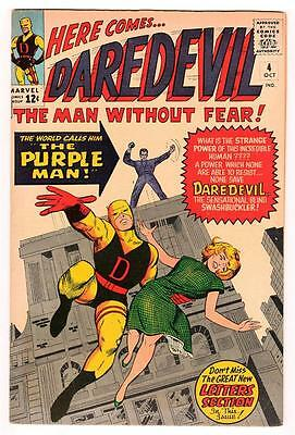 MARVEL Comics DAREDEVIL CENT COPY VOL 1 Issue 4  VFN- 7.0  1964