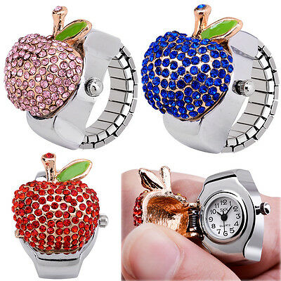 Unisex Vogue Lovely Apple Charm Crystals Elastic Finger Ring Watch Fashion Gift