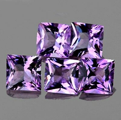 UNHEATED IF~2.82CT/5p SQUARE 5.00mm PRINCESS CUT PURPLE AMETHYST 100% NATURAL NR