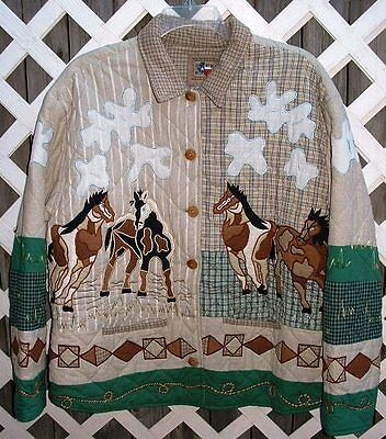 Don't Mess With Texas Wearable Animal Art Quilted Jacket Horse/Lariat100% cotton