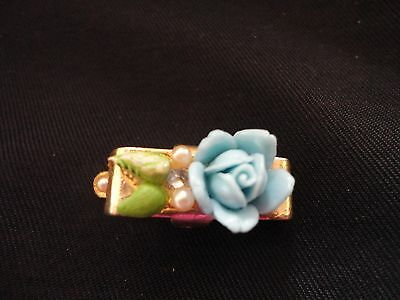 Antique Blue Porcelian Flower Clasp ~ scarf or tie