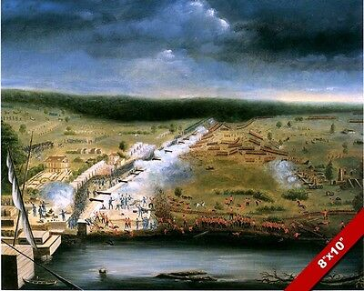 Battle Of New Orleans Painting Us British War Of 1812 Art Real Canvas Print