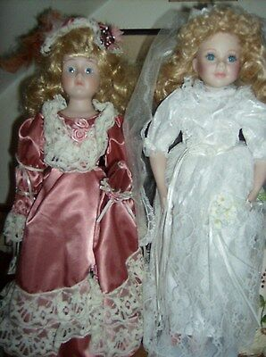 """2 Porcelain Dolls 1 Bride/Wedding 1 Victorian Outfit Approx. 20"""" Both Beautiful!"""