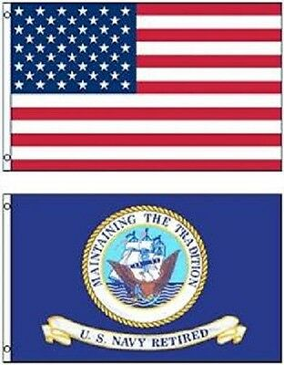 Wholesale LOT 3' X 5' U.S. AMERICAN & US Navy Retired FLAG Banner 3X5