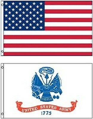 Wholesale LOT 3' X 5' U.S. AMERICAN & US Army White Emblem FLAG Banner 3X5