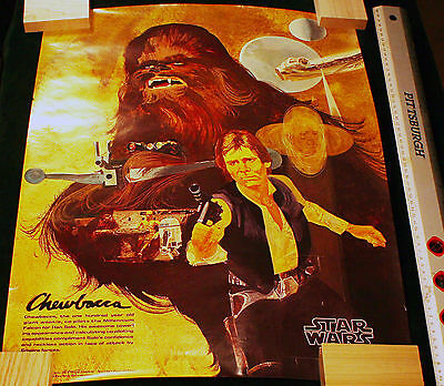1977 Burger King Coca Cola Promo ~ Star Wars ~ Chewbacca Poster ~ Gently Used