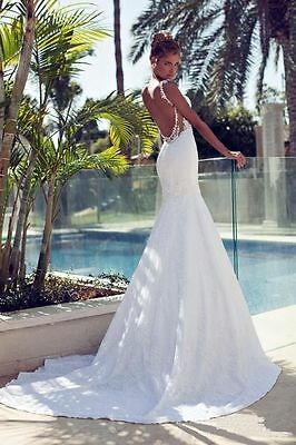 2014 New White/ ivory Backless sexy beach Lace mermaid wedding dresses Custom