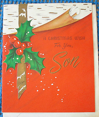 1950S VINTAGE VOLLAND CHRISTMAS GREETING CARD TO SON NOT USED