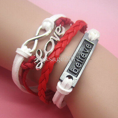 NEW DIY Hot Fashion Believe LOVE Leather Cute Charm Bracelet plated Silver A69
